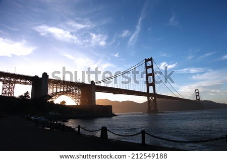 Golden Gate Bridge in San Francisco during a sunset