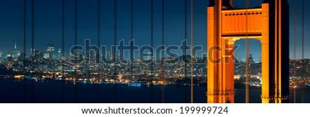 Golden Gate Bridge in San Francisco with city skyline - stock photo