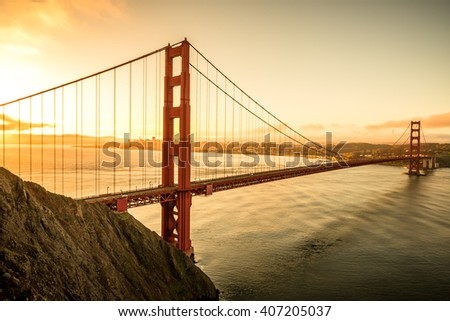 Golden Gate Bridge in the morning famous landmark in San Francisco California USA