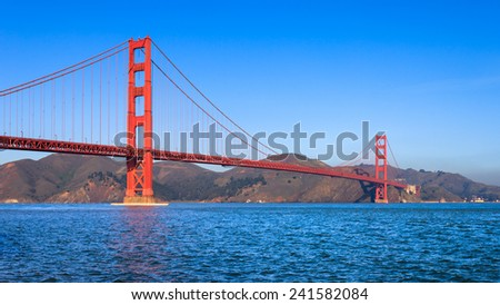 Golden Gate Bridge on a clear sunny morning in San Francisco. - stock photo