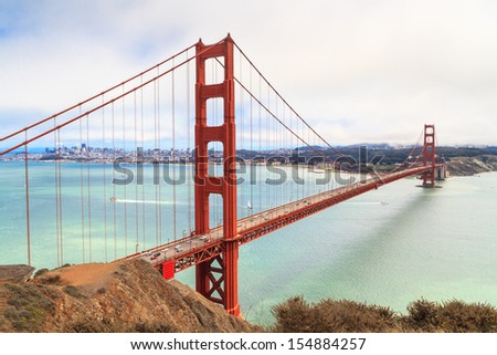 Golden Gate Bridge on foggy day, San Francisco, California