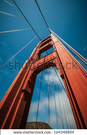 Golden Gate Bridge Pillar in San Francisco, California, USA - stock photo