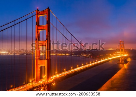 Golden Gate Bridge, San Francisco at night, USA - stock photo