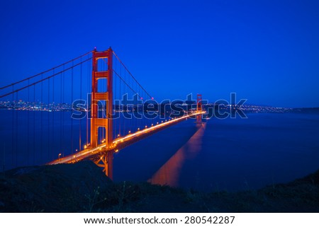 Golden Gate Bridge, San Francisco at night, USA