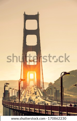 Golden Gate Bridge - San Francisco at Sunset - stock photo