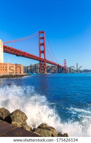 Golden Gate Bridge San Francisco from Presidio in California USA - stock photo