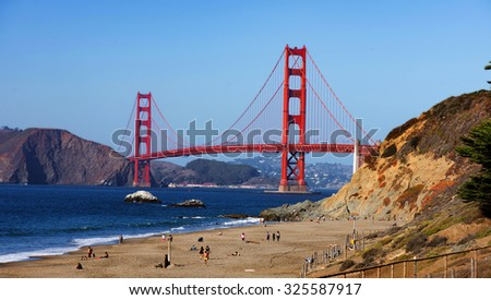 GOLDEN GATE BRIDGE, SAN FRANCISCO, Oct 6, 2015: Golden Gate bridge from Baker beach. California, USA