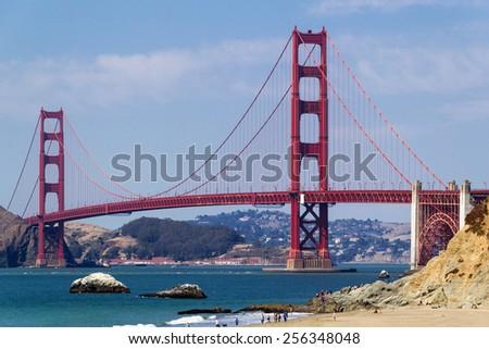 Golden Gate Bridge seen from above Baker Beach - stock photo