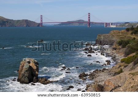 Golden Gate Bridge seen from Lands End in San Francisco, California. - stock photo