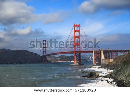 Golden Gate Bridge seen from Marshall Beach