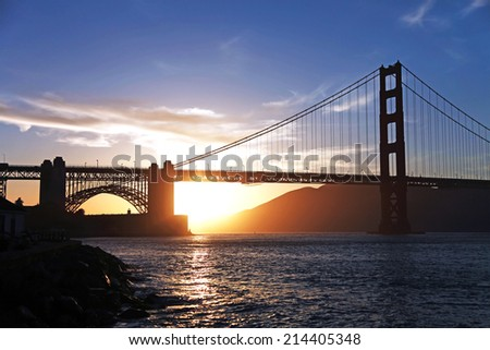 Golden Gate Bridge silhouette in San Francisco California - stock photo