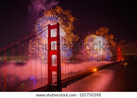 Golden gate bridge 75th birthday fireworks - stock photo