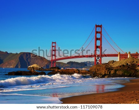 Golden Gate Bridge view from just before sunset. - stock photo