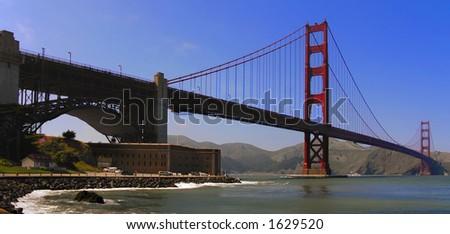 golden gate bridge wide - stock photo