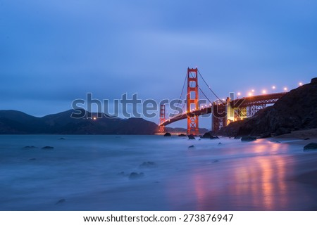 Golden Gate Bridge with beautiful Twilight time