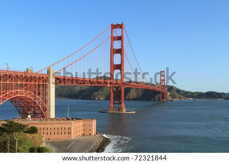 Golden Gate bridge with clear blue sky