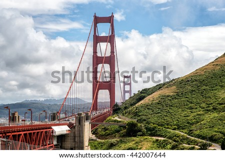 Golden Gate bridge with traffic in the fog, San Francisco, California, USA