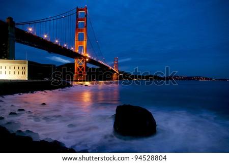 Golden Gate Bridget after Sunset - stock photo