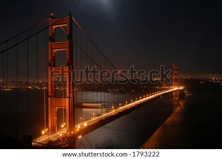 Golden Gate by night from Marin Headlands, San Francisco, California