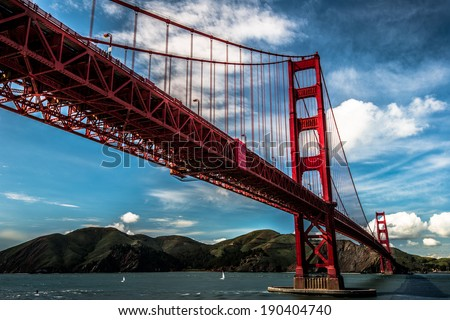 golden gate during sunny day - stock photo