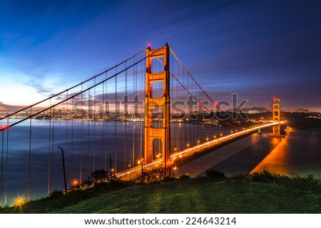 Golden Gate, first light. - stock photo