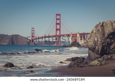 Golden gate from Baker beach, retro vintage look