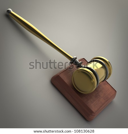 Golden gavel 3d render - stock photo