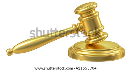 Golden Gavel, 3D rendering isolated on white background - stock photo