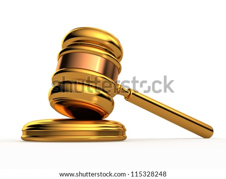 Golden gavel isolated against a white background with reflections - stock photo