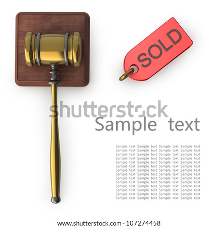 Golden gavel isolated on white backround 3d render - stock photo