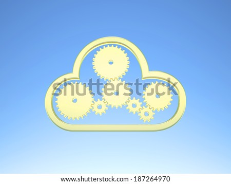 Golden gears and a cloud icon on blue Sky symbol for cloud computing - stock photo