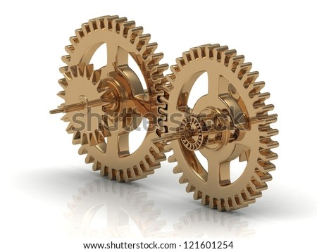 Golden gears in mesh on a white background. 3D Concept - stock photo