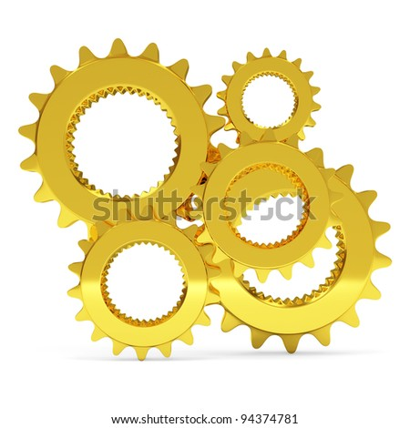 Golden Gears on white background - stock photo