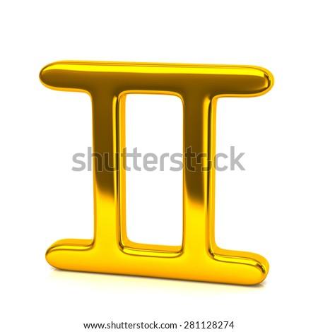Golden gemini zodiac sign isolated on white background - stock photo