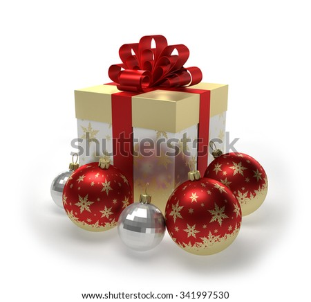 Golden gift box and Christmas balls with snowflakes isolated on white background