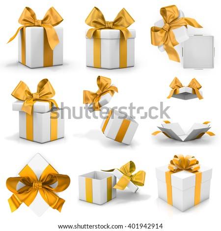 Golden gift box set 3d rendering - stock photo