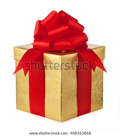 golden gift box with a red bow isolated on white. - stock photo