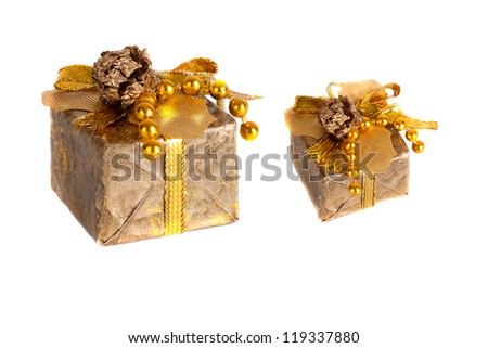 golden gift box with pine cone - stock photo