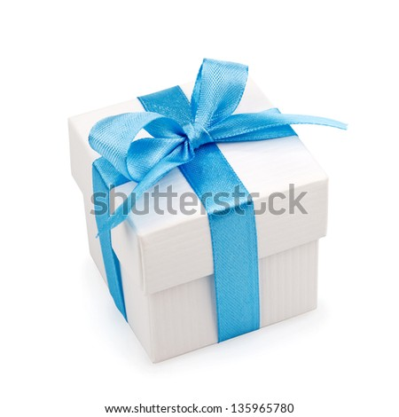 golden gift box with silver ribbon and bow isolated on white