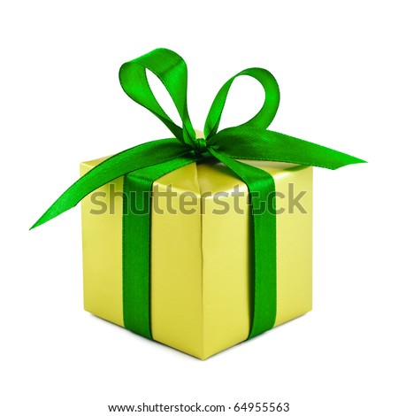 Golden gift wrapped present with green satin ribbon bow isolated on white - stock photo