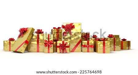 Golden gifts with red bow and ribbons on white background. Holiday Christmas 3d illustration. - stock photo
