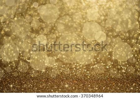 Golden glitter - stock photo