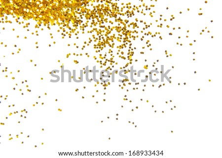 golden glitter frame background - stock photo