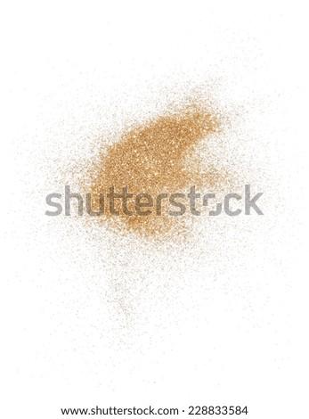 Golden glitter over white background - stock photo