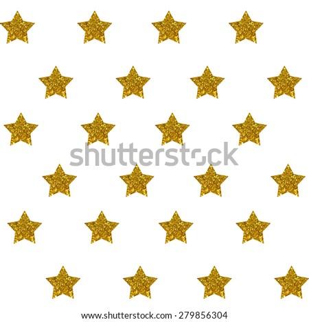 Golden glittering star Background Pattern - stock photo