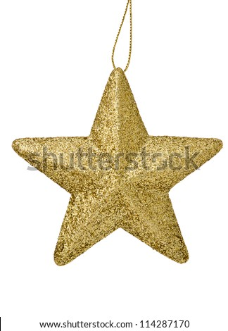 Golden glittering star  Christmas ornament isolated on white background - stock photo