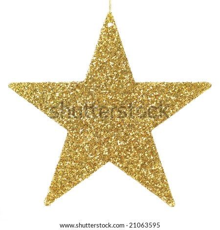 Golden glittering star shaped Christmas ornament isolated on pure white background - stock photo