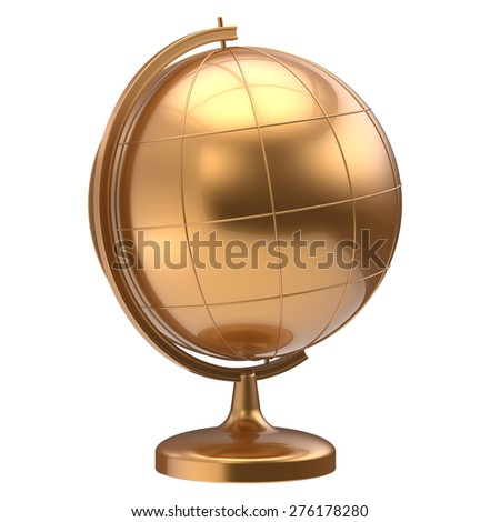 Golden globe blank planet Earth global geography school studying world cartography symbol icon yellow gold. 3d render isolated on white background - stock photo