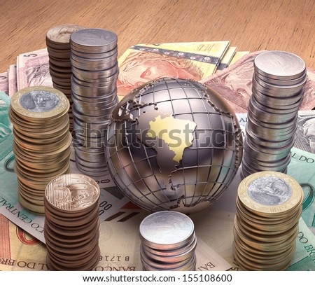 Golden globe with emphasis on Brazil and its economy. - stock photo