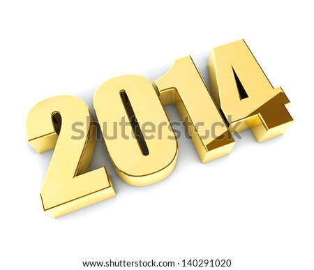 Golden glossy 3D 2014 year figures isolated on white background. - stock photo